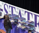 Cupcakes being served at the 150th kickoff event in Ahearn Field House.