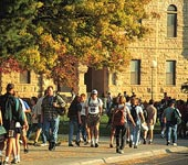 Students on K-State campus in the fall