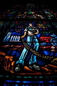 Stained glass in Danforth and All Faiths Chapels