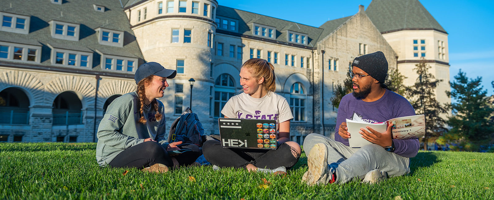 Three students studying chemistry on the lawn in front of Hale Library