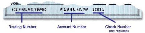 Image of a check showing the routing number in the bottom left, followed by the account number.