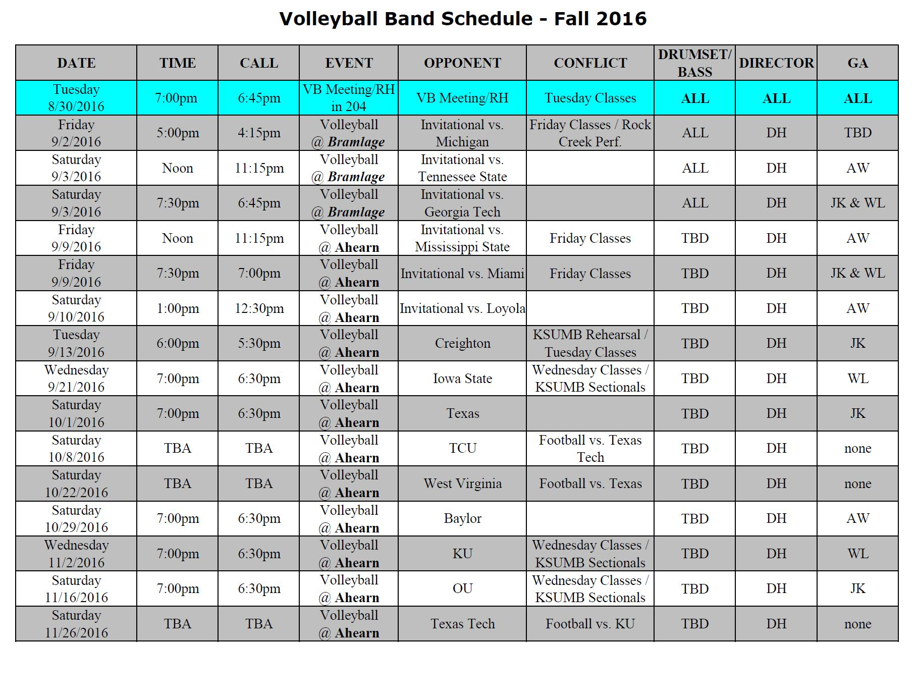 2016 VB Band Schedule