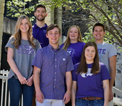 Image of six students accepted to KU from left to right: Natalie Ost, Matthew Brettmann, Samuel Broll, Tate Gilchrist, Mackenzie Wahl, and Garrison Olds.