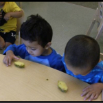 The children each got their own piece of pineapple to explore. Miss Raineka asked them to smell the pineapple and tell her what it smelled like.