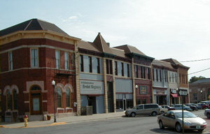 Photo of rural main street business district.