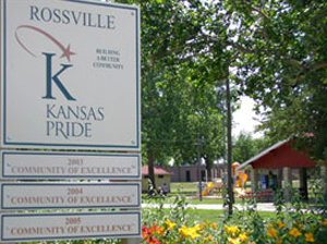 Photo of Kansas PRIDE sign in Rossville, Kan.