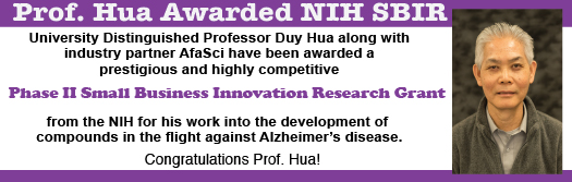 Prof Hua Awarded NIH Grant