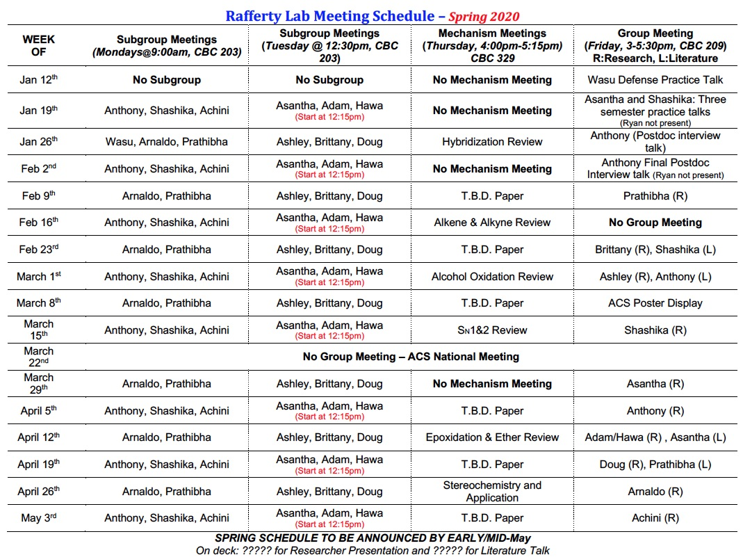 Rafferty Group Meeting Schedule