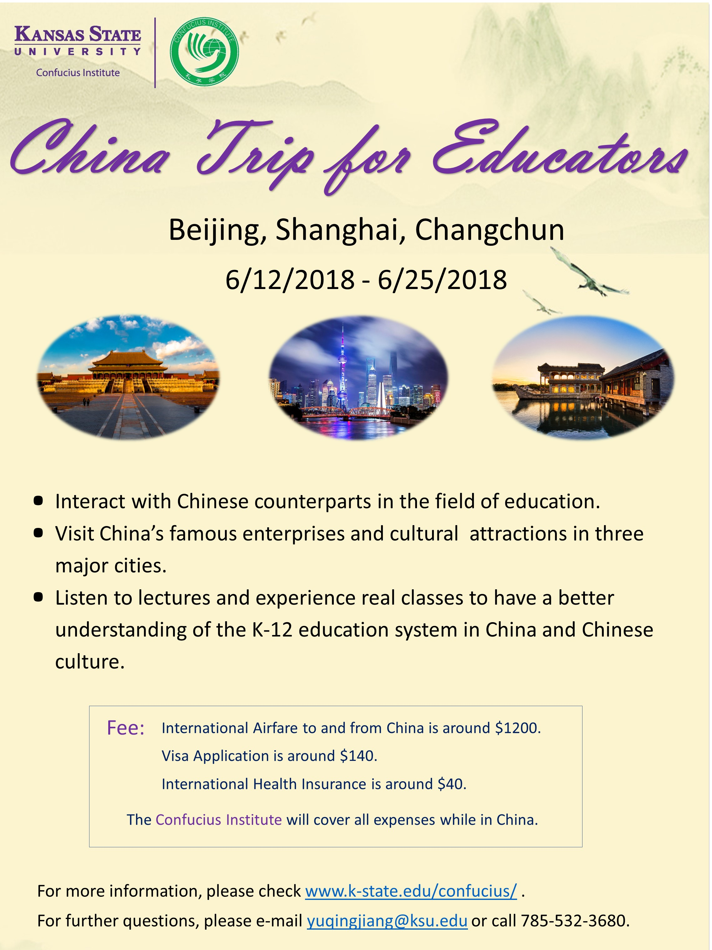 Confucius Institute Kansas State University Beijing Special Deal 4 Days Dept 11 Aug 18 Visit Three Cities In China Listen To Lectures Relating Education Airfare
