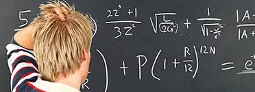 person scratching his head at the blackboard with a complex math problem