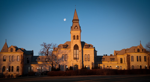 Anderson Hall at sunrise.