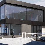 Rendering of the Multicultural Center from the northwest.