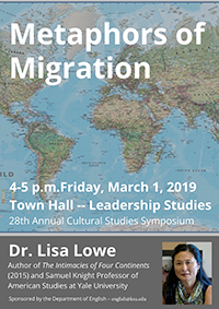 Prof. Lisa Lowe will speak at the 28th Cultural Studies Symposium on March 1 2019, from 4 to 5 pm in Leadership Studies Town Hall