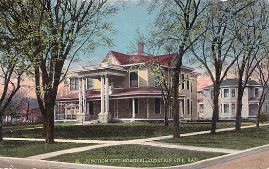 Vintage postcard of Original Junction City Hospital