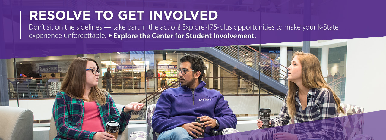 Resolve to get involved.  Don't sit on the sidelines -- take part in the action!  Explore 475-plus opportunities to make your K-State experience unforgettable.  Explore the Center for Student Involvement.