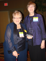 L. Susan Williams (left) and Sue Maes (right) with award.