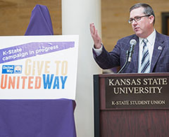 President Schulz speaks at the United Way kickoff Friday.