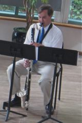 Tod Kerstetter performs on the bass clarinet.