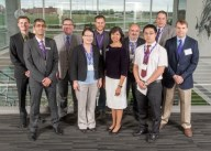 Left to Right: Devin Mangus, Ajay Sharda,  Kirk Schulz, Mei He, Brent Chamberlain, Prema Arasu, Stefan Bossmann, Zheng Zhao,  Jeff Tucker and Kurt Carraway. Not in the photo are Mark Blanks, Deryl Troyer, Annelise Nguyen, Dolores Takemoto and Duy Hua