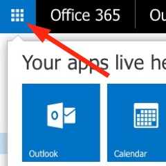 App Launcher location in Office 365 webmail