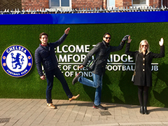 Students spell out K-S-U in front of the Chelsea Football Club