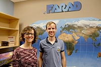 Ronette Gehring, left, with Mathias Devreese from Ghent University in Belgium, who visited K-State for three months this fall to learn more about pharmacokinetic and pharmacodynamic modeling.