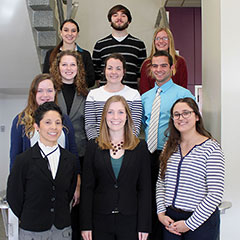 Animal Sciences and Industry Undergraduate Research Symposium participants from left: Maria Ruiz, Kaylea Nemechek  and Madison Moniz. Second row: Chloe Creager, Sydney Buller, Emily Ingram and Keith Mentnech. Back row: Elisa Trigo, Austin McDaniel and Kel