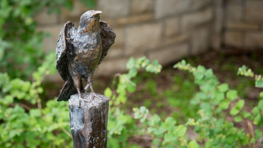 Bird statue in the Gardens