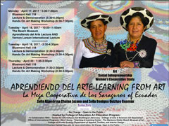 Ecuadorian bead weavers will lecture and demonstrate their folk art next week.