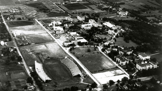A 1940s aerial view of campus