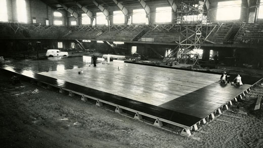 Ahearn Field House basketball court under construction