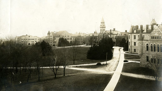 1914 view of Kansas State University's Manhattan campus