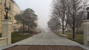 Fog on the Manhattan campus