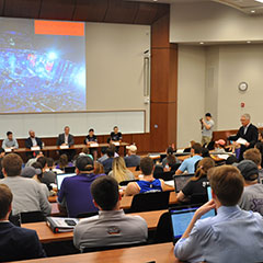 Dr. Doug Walker introduces a panel on e-sports in last spring's Sports Marketing Speaker Series.