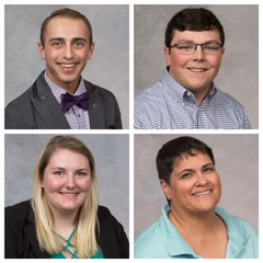 Students selected for the Wildcat Pride Awards during Kansas State Polytechnic's annual Awards and Recognition Banquet, which are the event's top awards, are, clockwise from top left: Jacob Rose, Clayton Bettenbrock, Mary Rodriguez and RaeLynn Roe.