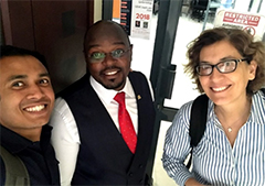 From left, Md Mahbubul Huq Riad, Musa Sekamatte and Caterina Scoglio