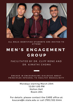Flier for the Men's Engagement Group