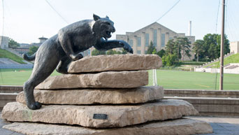 Seven-foot bronze Wildcat statue overlooking the K-State Alumni Center's Johnson Terrace.