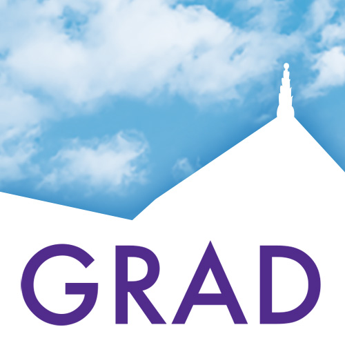 GRAD logo with Hale Library roofline