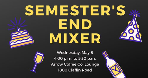 An infographic detailing the Kansas Science Communication Initiative's Semester's End Mixer, to be held on May 8 from 4:00-5:30 p.m. at Arrow Coffee Company.