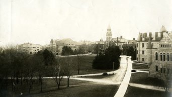 View of campus in 1914 looking southwest