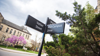 Street signs on campus