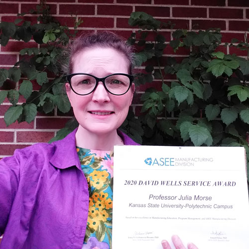 Julia Morse, associate professor in mechanical engineering technology at K-State Polytechnic, has been selected for the 2020 David Wells Service Award by ASEE's Manufacturing Division.