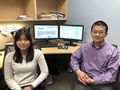 Yi-Hsien Cheng, left, and Zhoumeng Lin, authors of the study, used a modeling and simulation approach to research the efficiency of nanomedicine for cancer treatment.