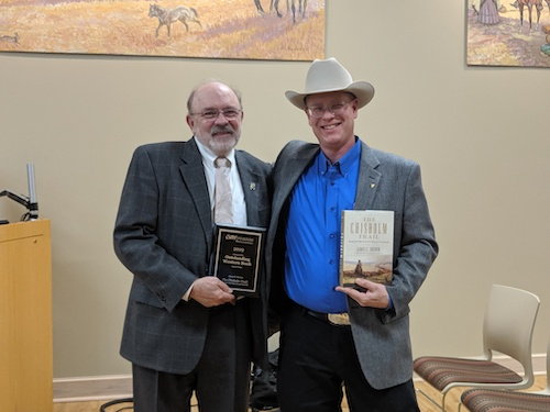 James Sherow, left, with Alex Hunt (right), Director of the Center for the American West in Canyon, TX. March 5th, 2020.