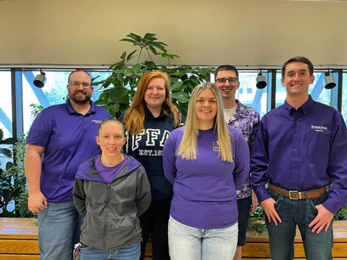 2021 K-State Soils Judging Team (l to r): Coach Colby Moorberg, Abigail Kortokrax, Sydney Baughman, Katie Fross, Assistant Coach Jake Ziggafoos, and Jagger Borth. Not pictured: Tom Torres, Colton Vajnar, Jacoby Kerr, Isaiah Euler, and Coach DeAnn Presley.