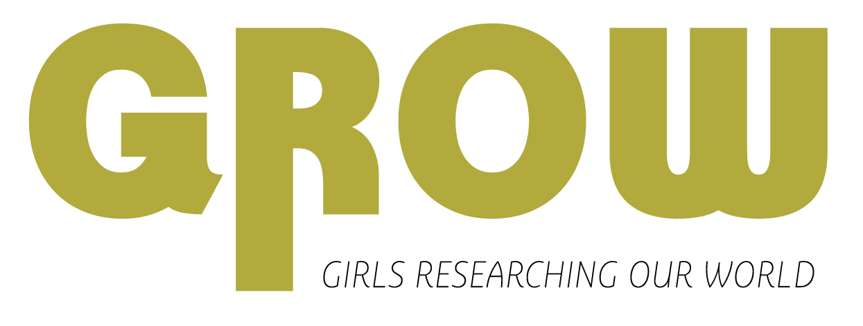 logo picture for grow program. says grow girls researching our world