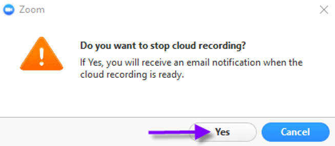 In the Do you want to stop recording? box click Yes.