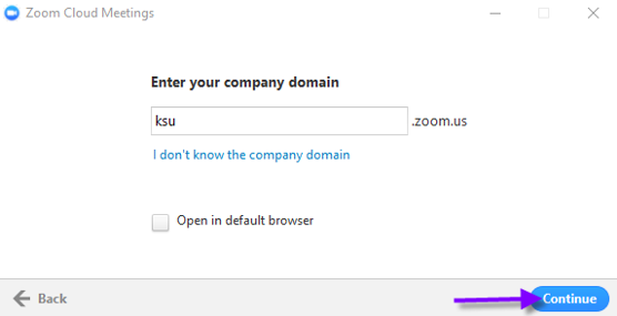 Type ksu into the Enter your company domain box and then click Continue.