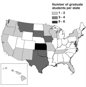 Number of graduate students per state infograph